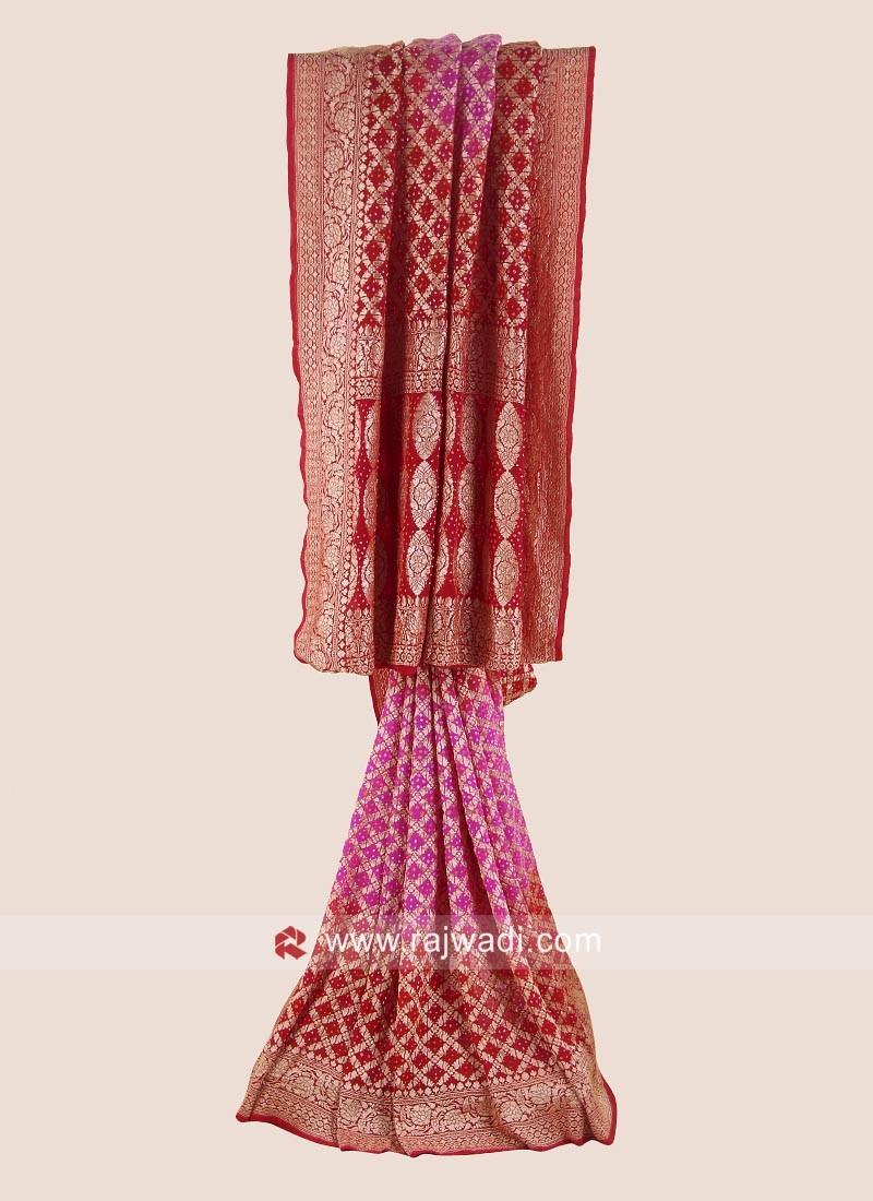Pink and Red Bandhani Saree