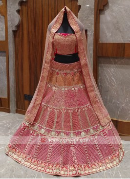 Pink and red color velvet bridal lehenga