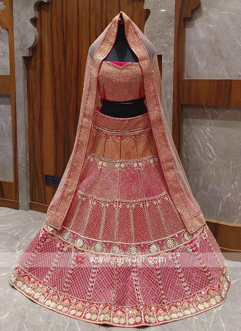 Pink And Red Color Velvet Bridal Lehenga