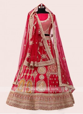 Pink And Red Silk Lehenga Choli