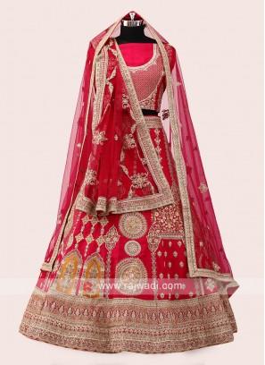Pink And Red Silk Lehenga Choli