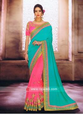 Pink and Sea Green Half Saree