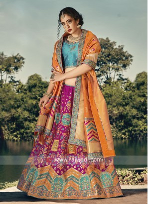 Pink and Sky blue lehenga chloi