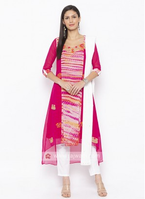 Pink And White Colour Salwar Suit