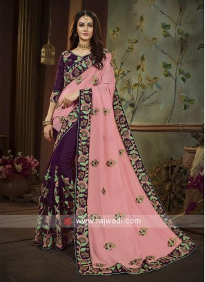 Pink and Wine Half n Half Saree