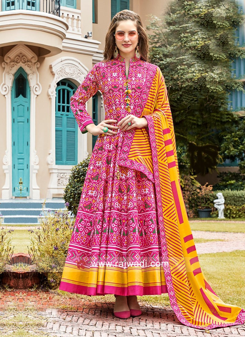 Pink and Yellow Anarkali Suit With Dupatta