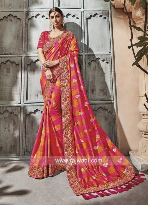 Pink and Yellow Checks Saree