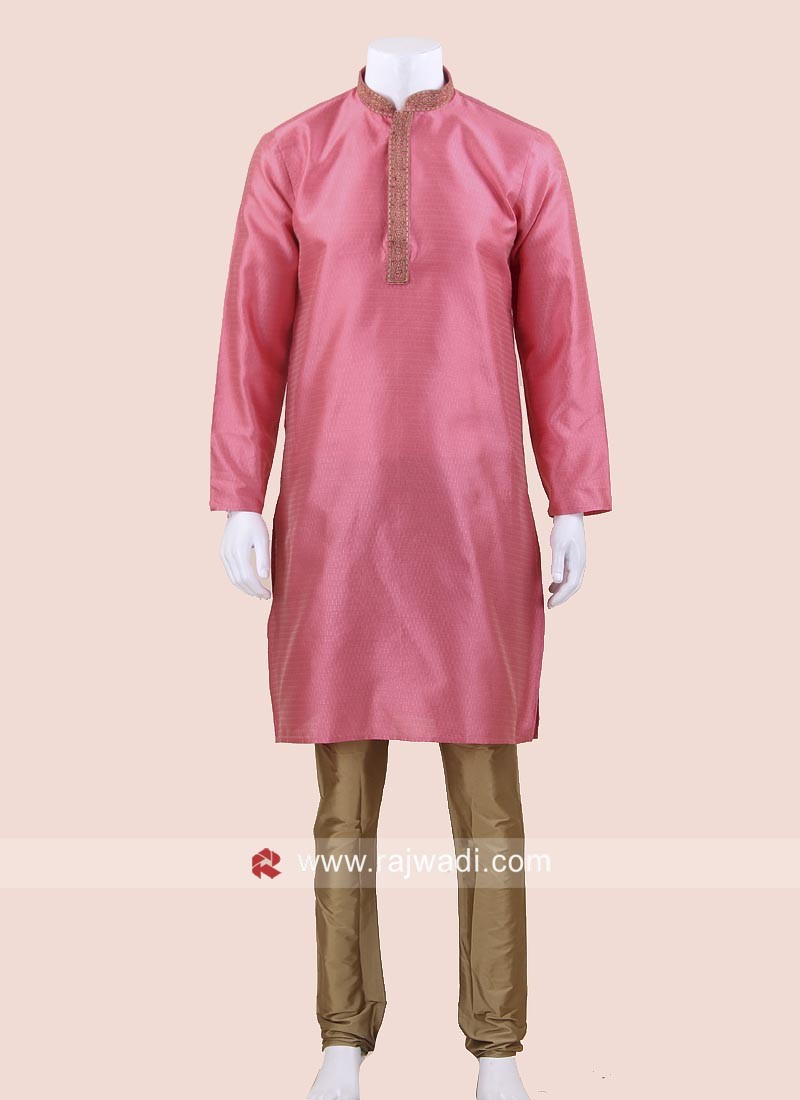 Pink Art Silk Kurta Pajama