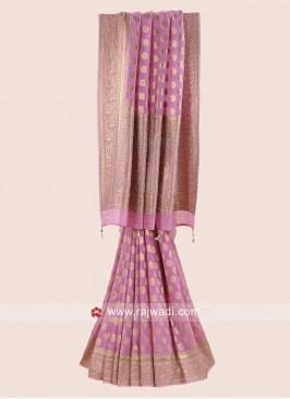 Pink Banarasi Chiffon Saree