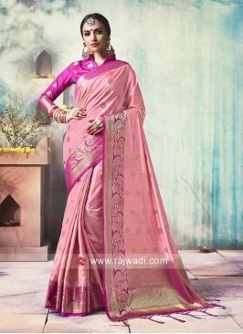 Pink Banarasi Silk Saree with Tassels