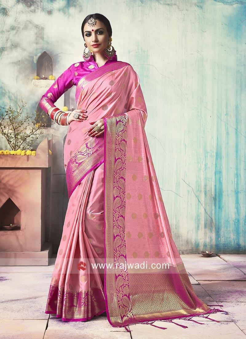 Pink Banarasi Silk Saree with Tassels