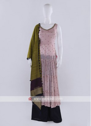 Pink & Blue Palazzo Suit with dupatta