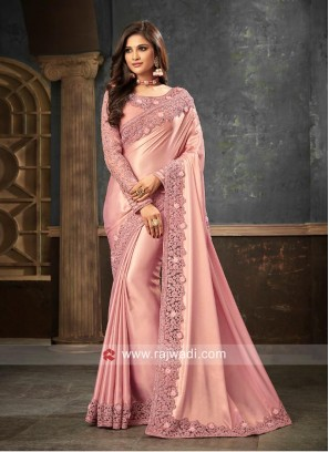 Pink Border Work Saree for Party