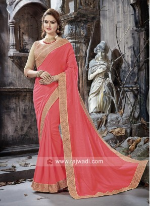 Pink Border Work Saree with Blouse