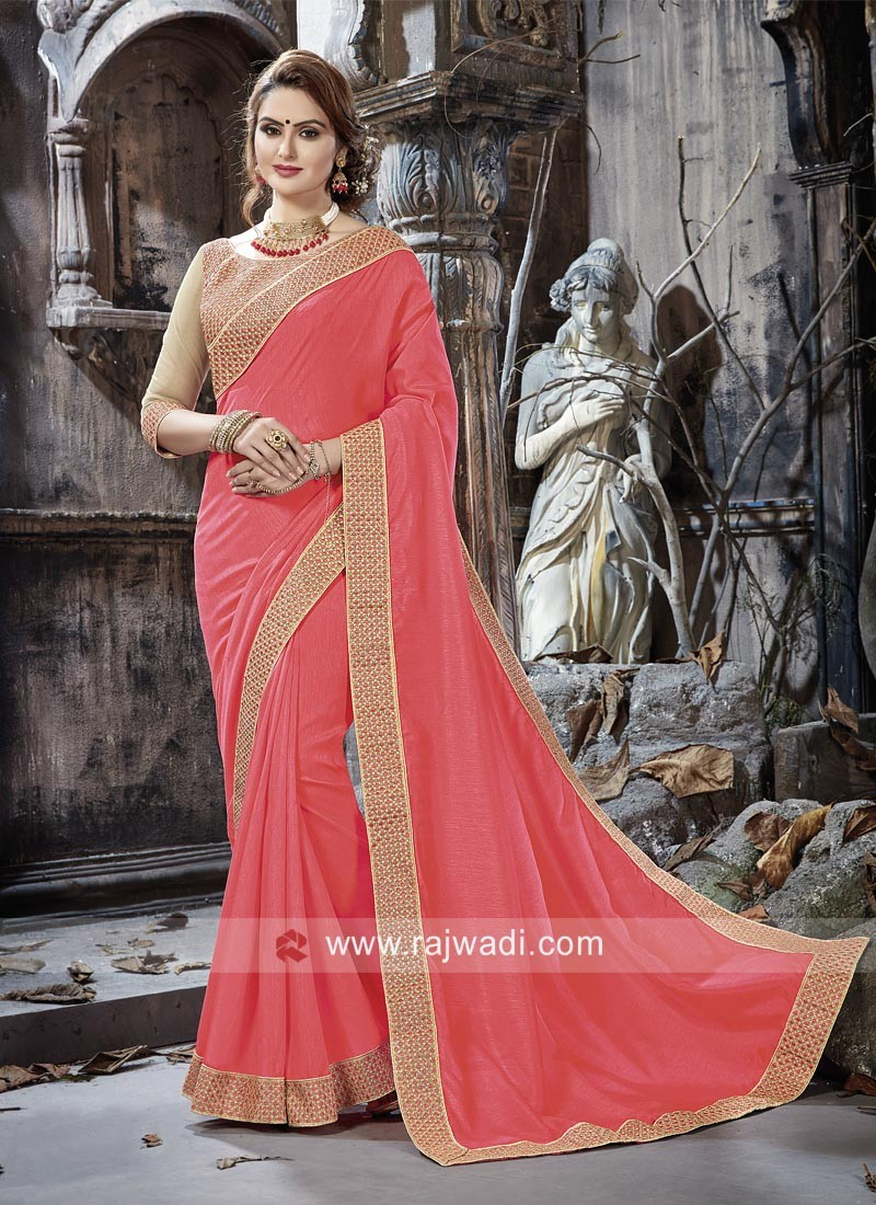 Pink Border Work Saree with Blouse