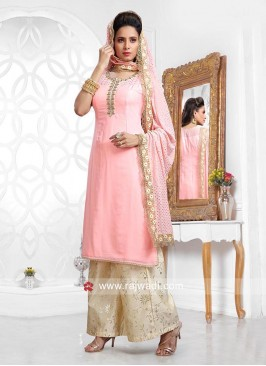 Pink Butter Silk Palazzo Suit