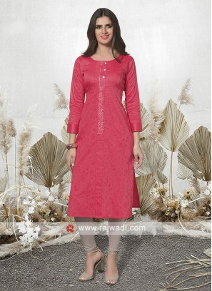 Pink Casual Kurti with Sleeves