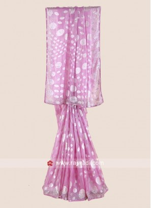Pink Chiffon Brasso Saree