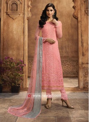 Pink Chiffon Casual Churidar Suit