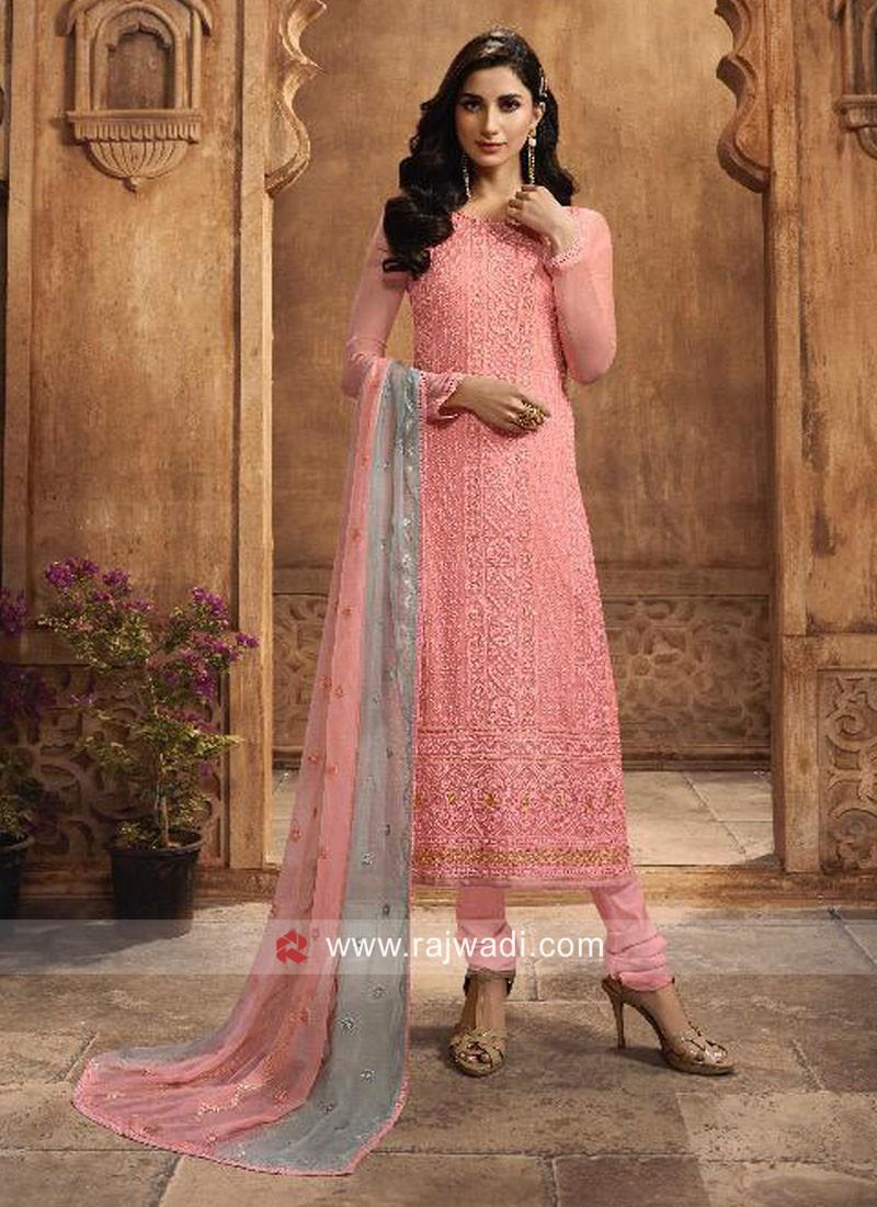 Pink Chiffon Casual Churidar Suit