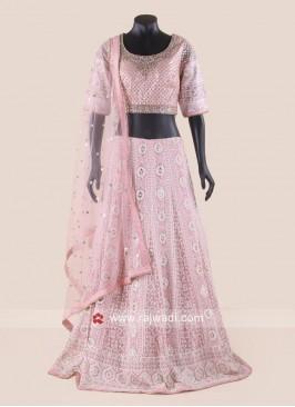 Pink Chiffon Lehenga Choli with Net Dupatta