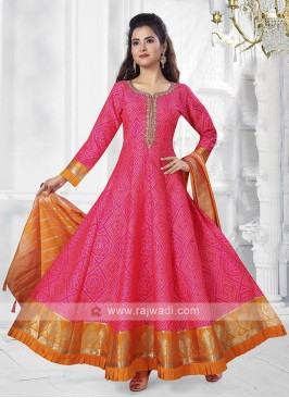 Pink Color Anarkali Suit with dupatta