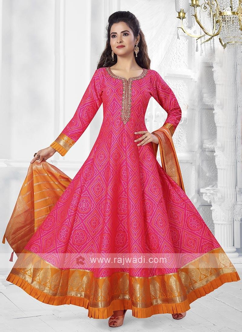 Pink Color Anarkali Suit with dupatta