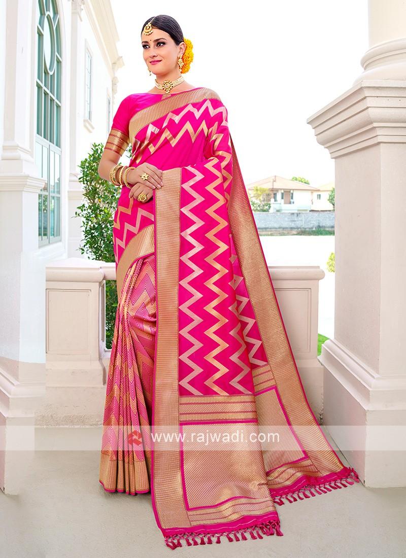Pink Color Banarasi Silk Saree