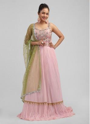 Pink Color Chiffon Fancy Anarkali Suit