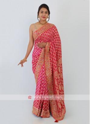 Pink Color Bandhani Chiffon Saree