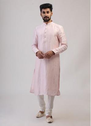 Pink Color Festive Wear Kurta Pajama