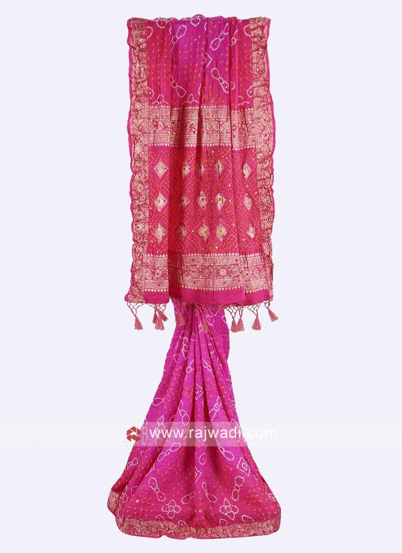 Pink color Gajji silk  bandhani saree