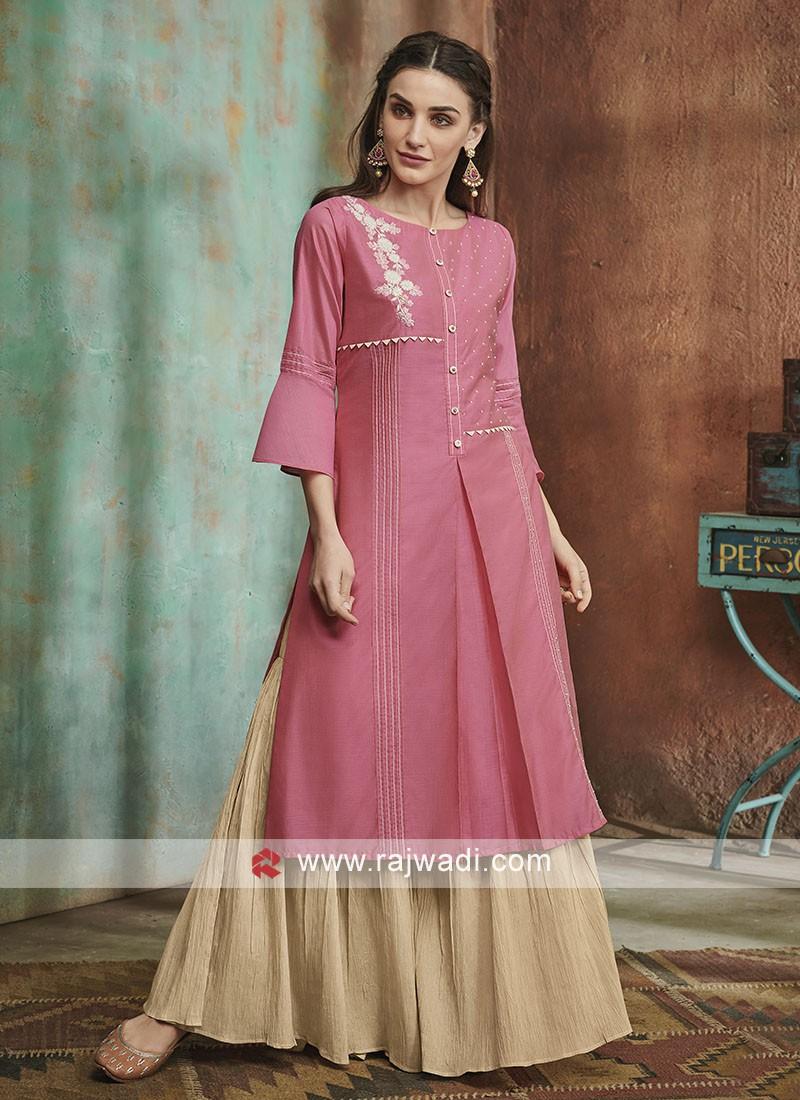 Pink color garara suit
