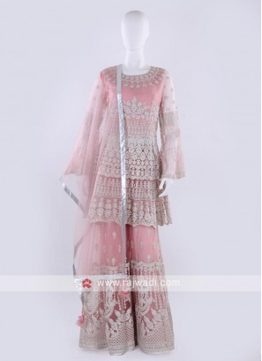 Pink color Gharara Suit with dupatta