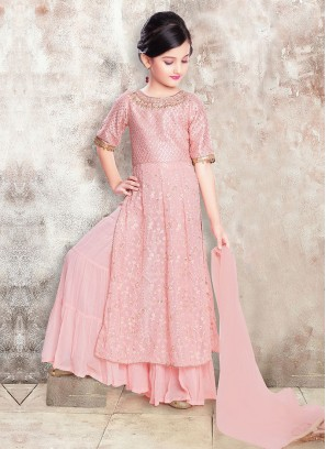 Pink Color Girls Palazzo Suit