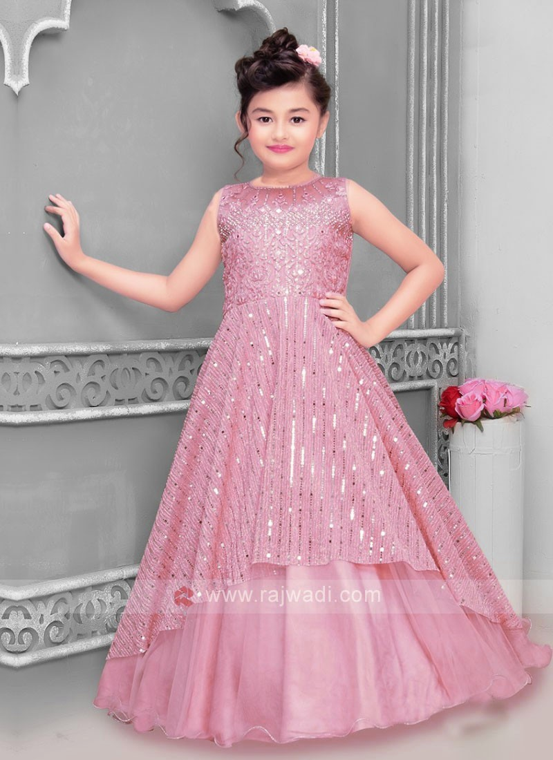 Pink Color Gown For Girls
