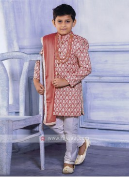 Pink Color Indo Western for Boys with Dupatta