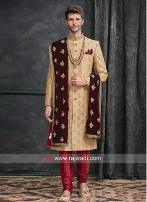 Charming Golden Color Sherwani