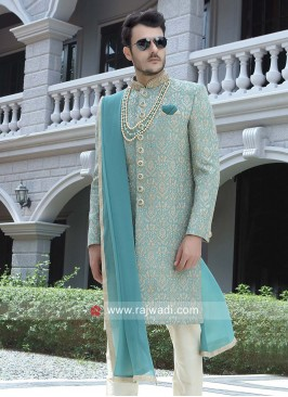 Sky Blue Color Sherwani With Dupatta