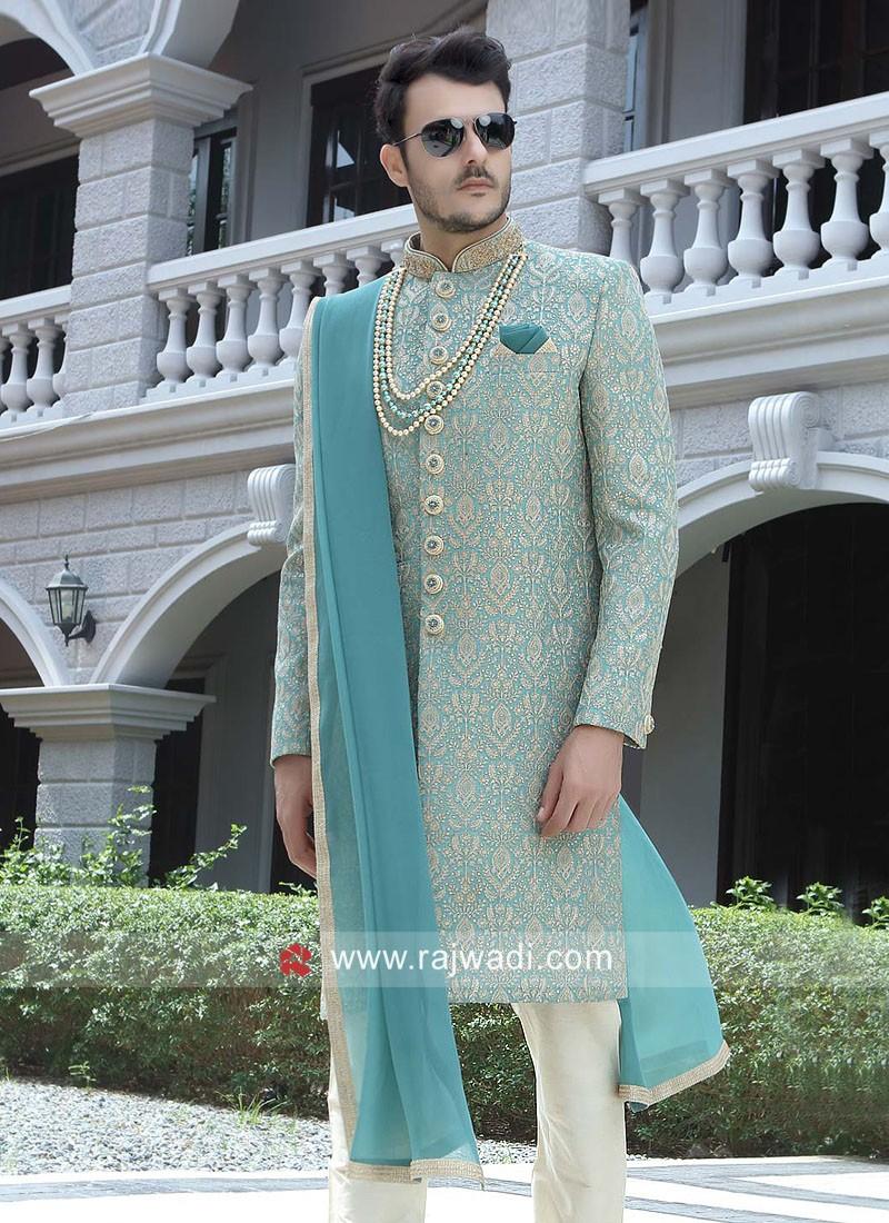 Sky Blue Color Sherwani With Dupatta