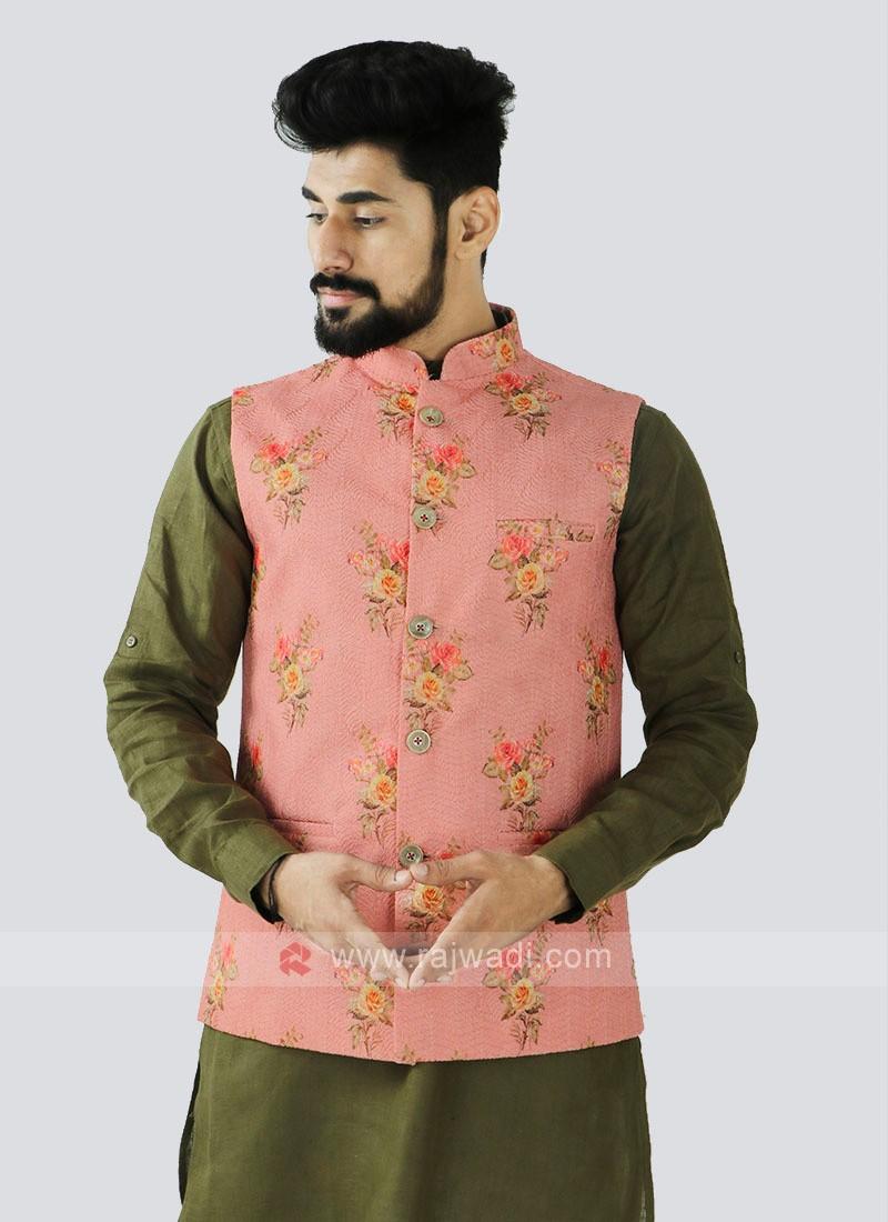 Pink Color Nehru Jacket For Men