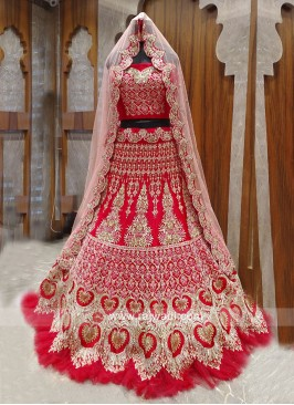 Pink color net and silk bridal lehanga choli