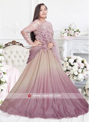 Pink Color net fabric choli suit with net dupatta.