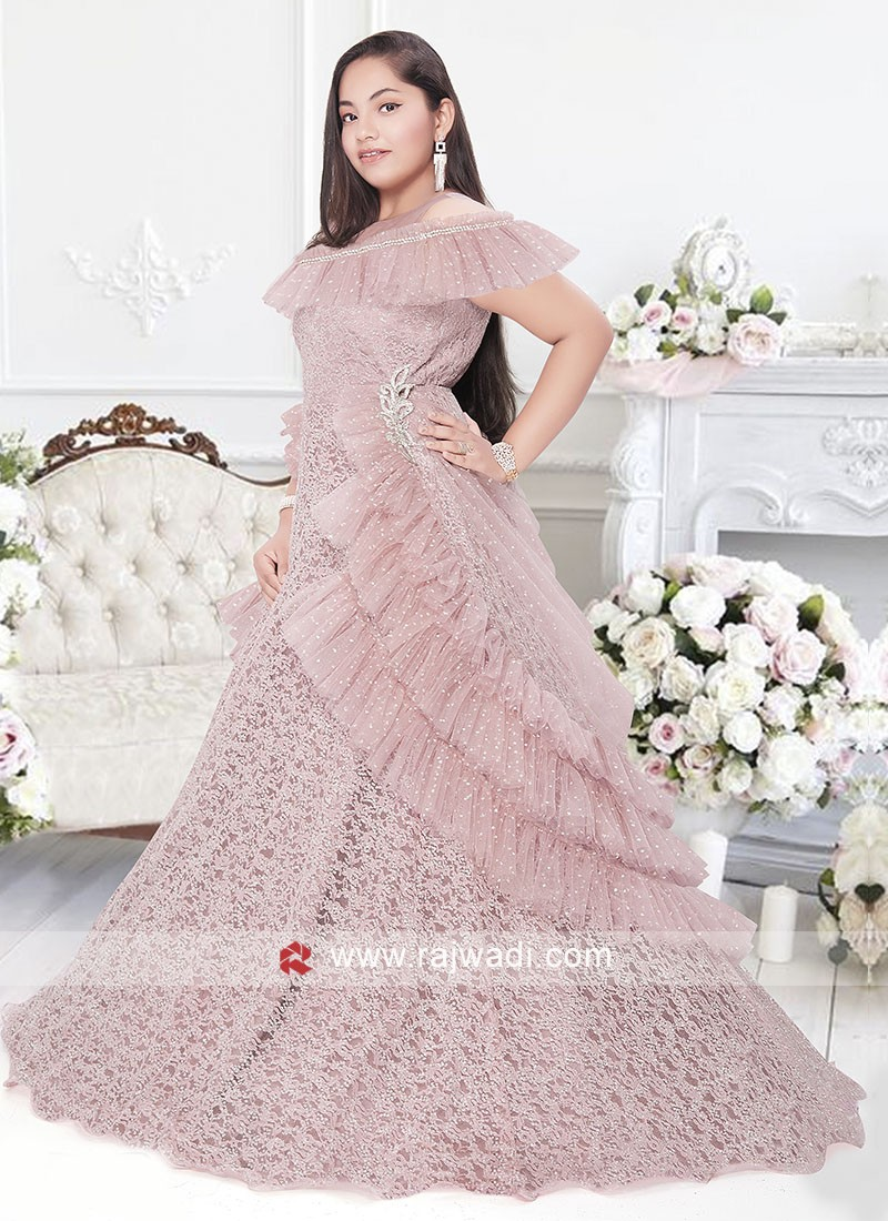 Pink color net fabric Gown