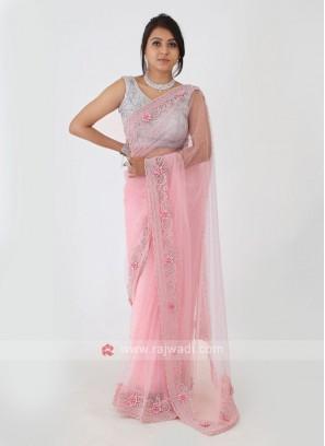 Pink Color Net Saree