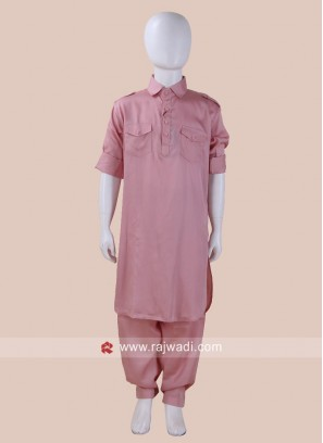 Pink Color Pathani Set For Kids