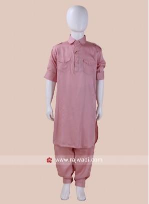 Pink Color Pathani Set For Kids