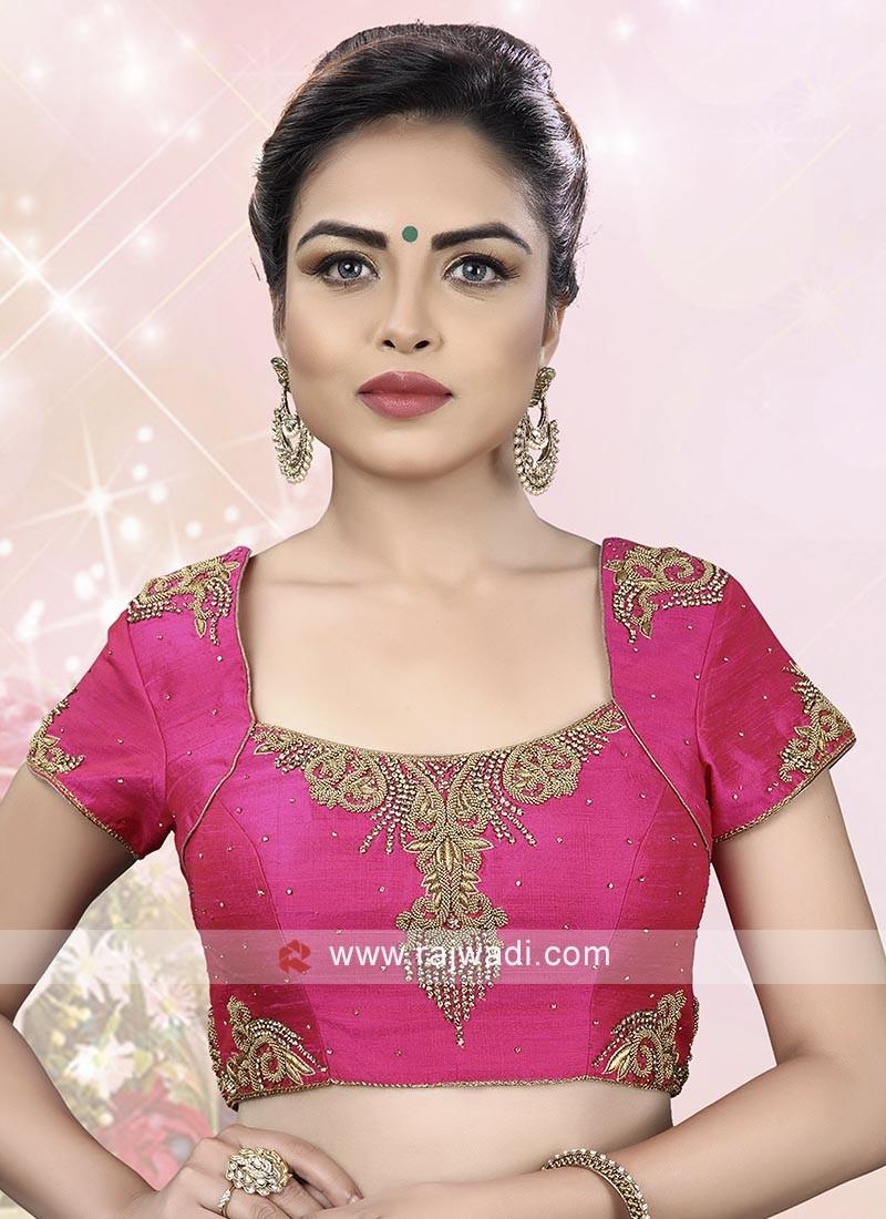 Pink Color Raw Silk Ready Choli