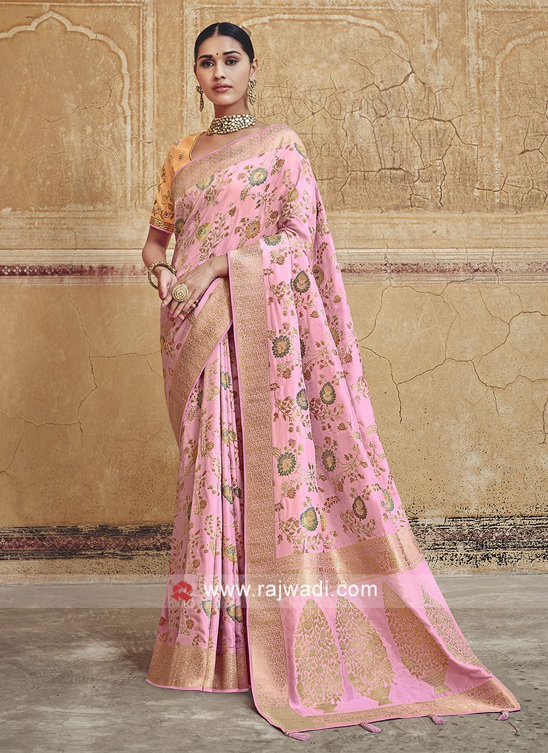 Pink Color Saree with Tassels