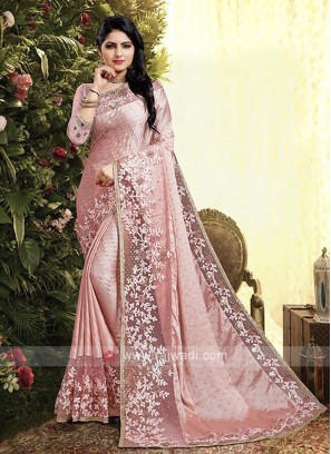 Pink Color Satin Georgette Saree